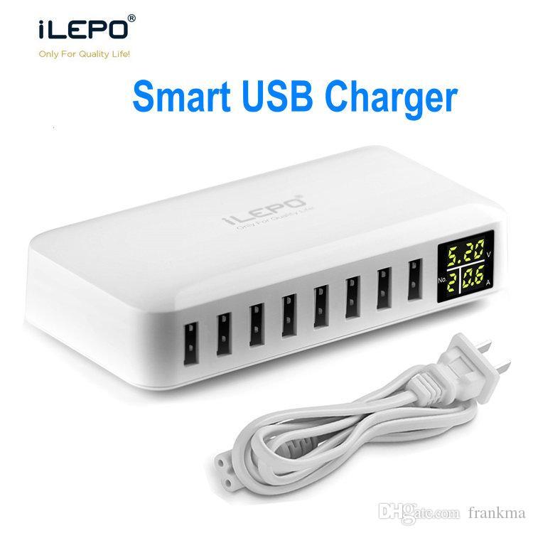 Schnelle Lieferung Lcd 45 Watt Smart Usb-ladegerät Mit 8 Port Ladestation Usb-wand-ladegerät Für Smartphone Tabletten Unterhaltungselektronik