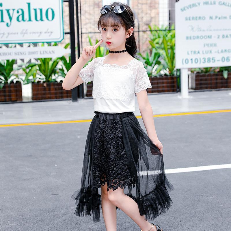 3eecf64b3e50c Compre Vestido De Verano Para Niñas Bebés Traje 2019 Nuevo Estilo Moda  Coreana Hermosa Chica Linda Camiseta + Falda De Encaje Temperamento Delgado  De Dos ...