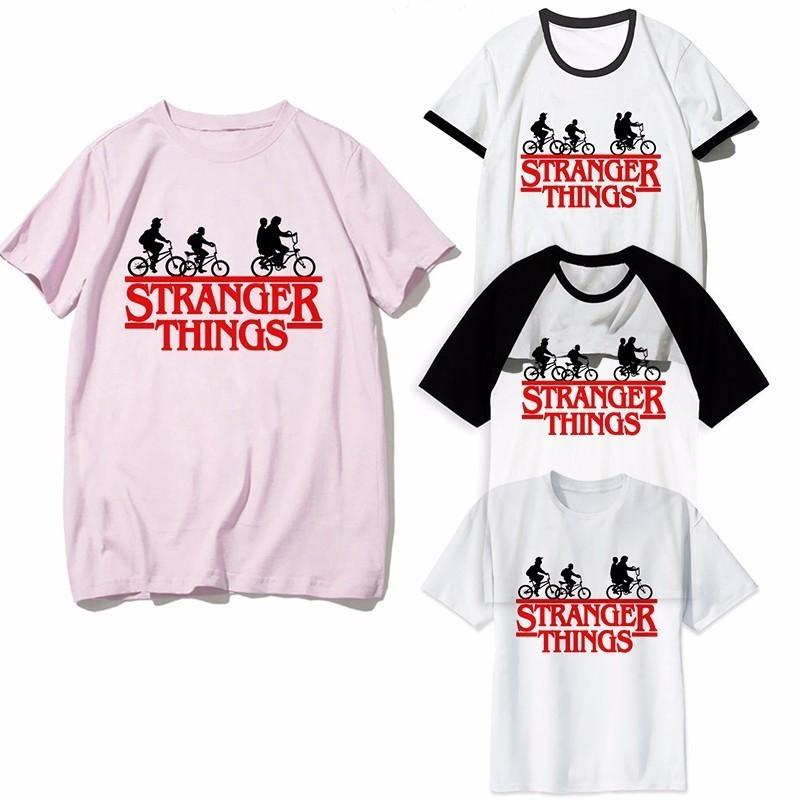 Fremde Dinge T Shirt Frauen Männer Harajuku Funny Movie Shirt Upside Down Eleven Tshirt Mode Männer Frauen Homme Pink T-Shirt