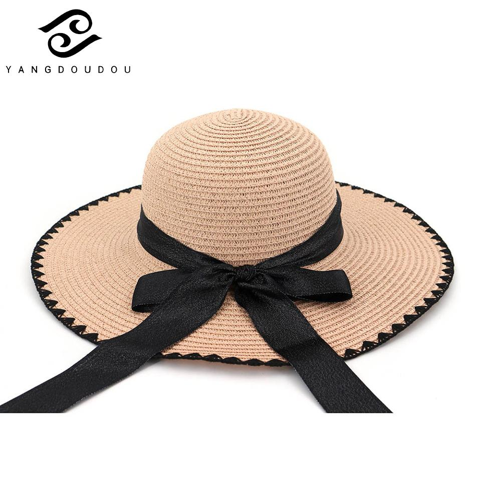 Yangdoudou New Fashion Beach Hat For Women Summer Solid Sun ... 3c2130ba84a