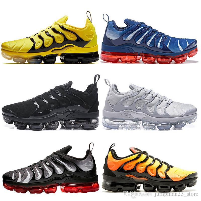 promo code de6b4 3ca99 Acheter Nike Air Max VAPORMAX TN Plus VM OFF WHITE Hyper Blue TN Plus Femmes  Hommes Chaussures De Course Argent Dégradé Blanc USA Zèbre Hors Classique  ...