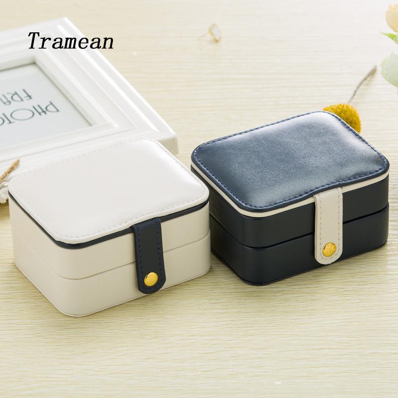 New Jewelry Box Leather Zipper Around Multi Function Travel Jewellery Box Case Organizer Cosmetic Bag With Mirror Inside Z30