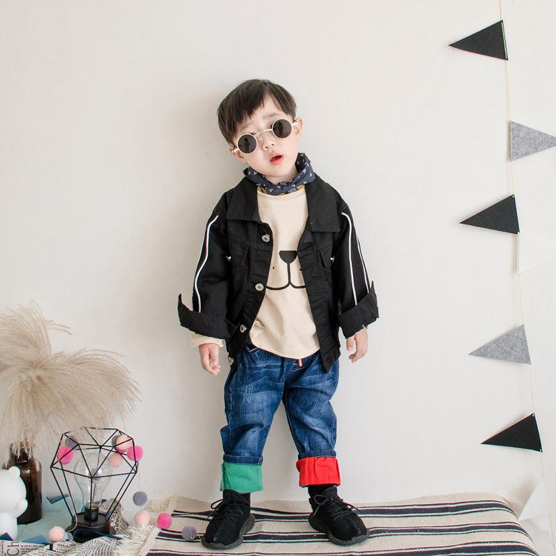 3639e27a25 Children S Jeans Baby Boys Denim Double Color Red Yellow Pants Navy Blue  Elastic Band Trousers Spring Autumn Small Foot Pant Stylish Jeans For Girls  Boys ...