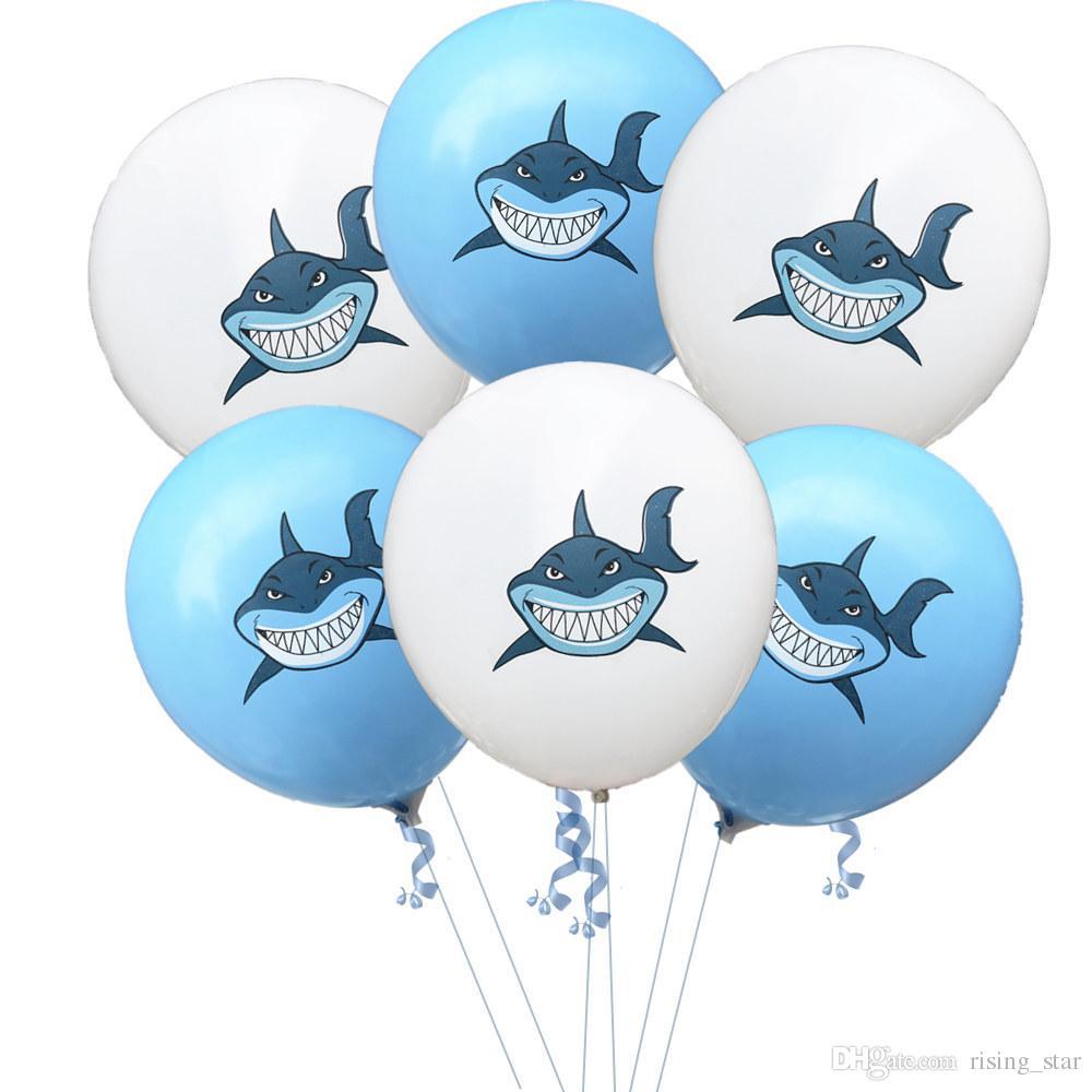 Marine Theme 12inch BABY SHARK Balloons Confetti 30CM Latex Smile Shark Doo  Doo Emoji Face 12 Sequin Baloons Birthday Party Ocean Ballons