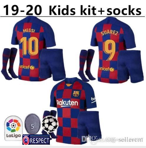 pretty nice fc83d 987fd 10 Messi kids kit socks Barcelona soccer jersey child 22 VIDAL 9 SUAREZ 14  MALCOM 23 MUTITI Maillot De Football Uniforms Shirts 7 COUTINH