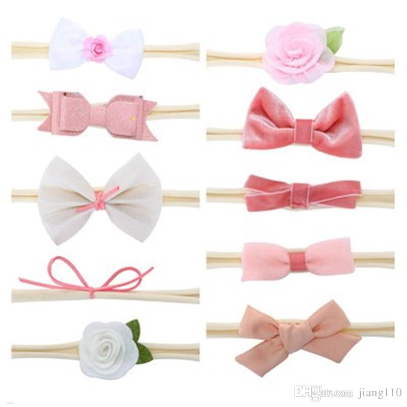 759aeb88b72a2 10pcs Set Baby Girl Velvet Bowknot Flowers Headbands Girls Velvet Bow Hair  Nylon Headband Accessories Kids Photo Props Wholesale
