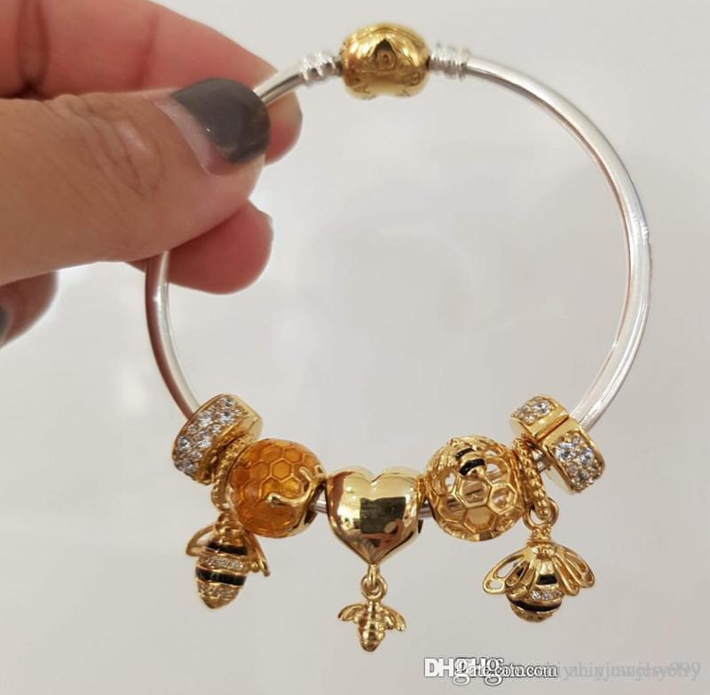 cadd7fd0c4288 Black Friday 2018 Pandora shine queen bee charm bracelets 18k gold plated  jewelry original full package box
