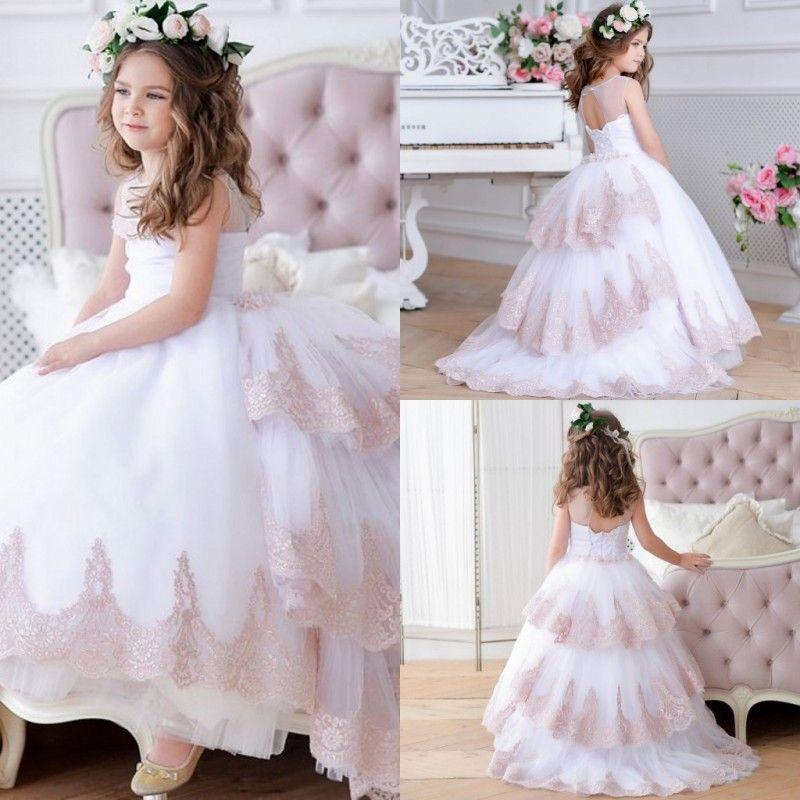 8bf9c8cd3e7 Acheter Nouveau Robe De Bal Fleur Filles Robes Sheer Jewel Cou ...