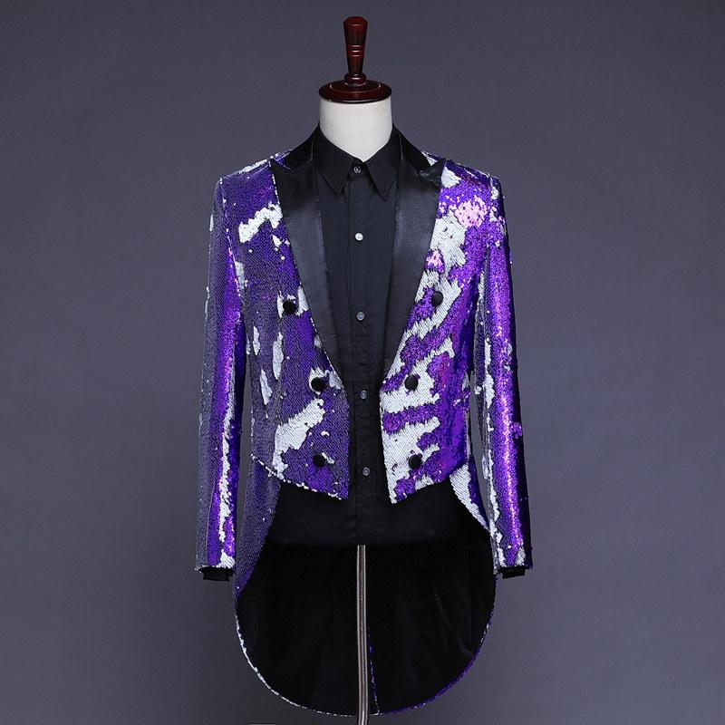 Lavender and White Sequin Tailcoat Men's Classic Jacket Dress Jacket Mens Blazers Men Dress Jackets