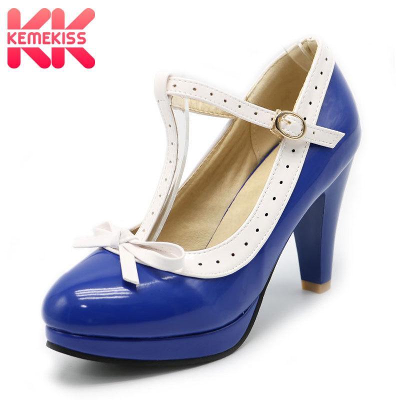 981b74969e4b1 Compre Zapatos De Vestir De Diseñador KemeKiss Tamaño 32 48 Tacones Altos  Mujer T Correa Bombas De Verano Mujeres Oficina Señora Plataforma Trabajo  Diario ...