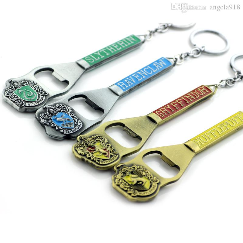 4 Styles Harry Hufflepuff Gryffindor Ravenclaw Slytherin Badge Bottle Opener Harry Keychain Alloy Pendant Bag Ornaments Home Supplies L238
