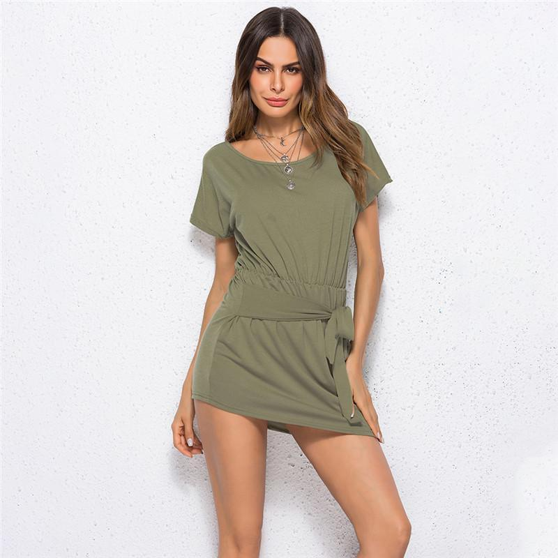 7b649fbee220d 2019 Army Green Summer Women Dress Mini Elegant Short Sleeve Bohemian  Dresses Prom Female Vestidos Sashes Lace Up Vestidos