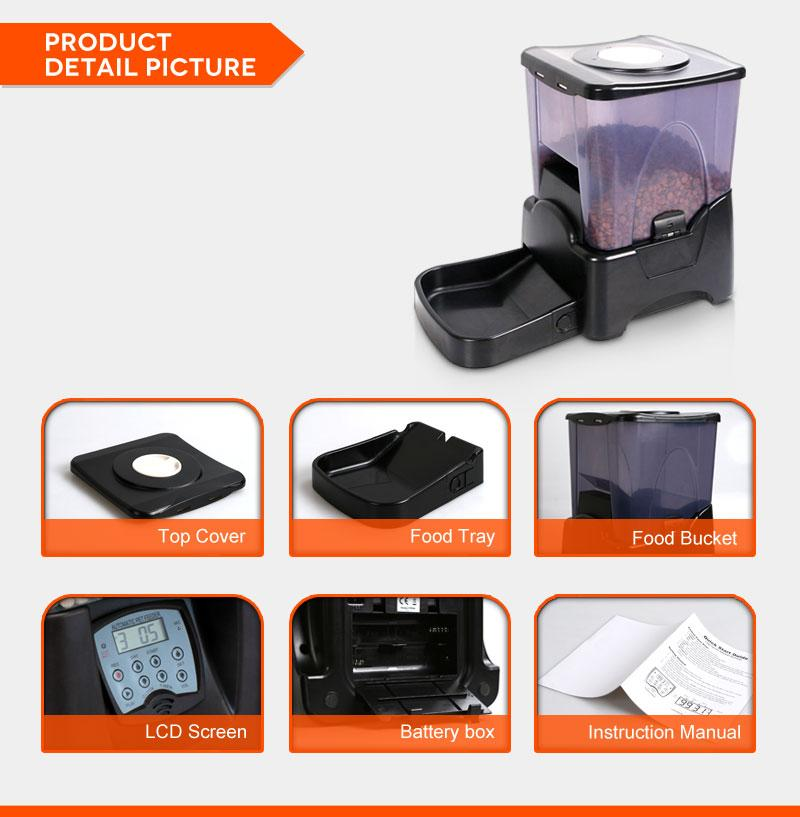 PF-10A High Capacity Portion Control Automatic Pet Feeder Food Dispenser Black