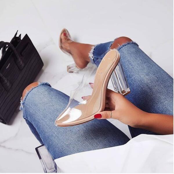 e9e762933e6 Womens Sandals Summer Slippers Crystal Shoes Transparent Heels Sexy ...
