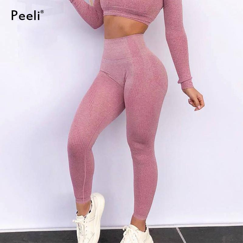 Acheter Peeli 2018 Tummy Control Pantalon De Yoga Taille Haute Seamless Leggings  Femmes Push Up Sports Leggings Courir Athlétique Gym Collants Femme De ... 1c57307a41b