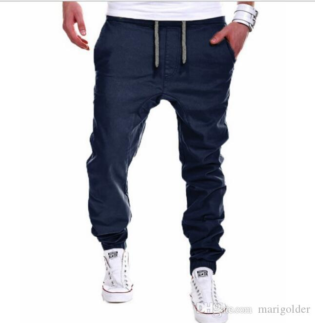ef479758dc 2019 Men Pants Hip Hop Harem Joggers Pants Male Trousers Straight Cylinder  Type Mens Joggers Solid Pants Sweatpants From Marigolder, $28.16 |  DHgate.Com