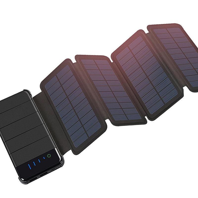 9b3ce8245c3 Compre Dobrável Portátil Ao Ar Livre Dobrável Painel Solar À Prova D 'Água  Carregador De Banco De Potência Móvel 10000 MAh Para Celular Bateria Dual  USB ...