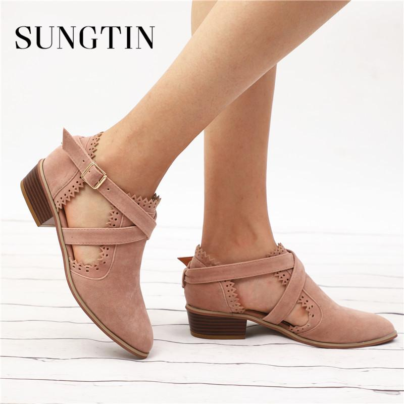 ecfef419d381f Sungtin Spring New Flock Short Ankle Boots Women Fashion Hollow Out Chunky  Low Heel Basic Boots Lady Shoes Buckle Strap Booties
