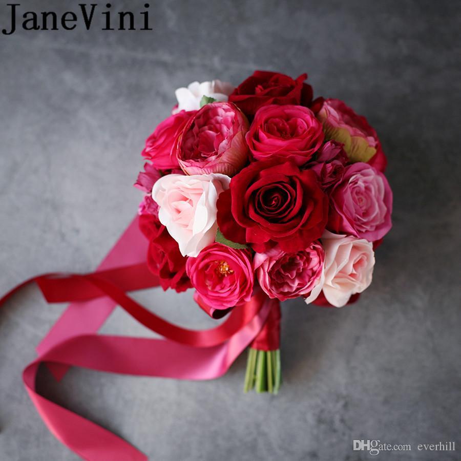 Bouquet Sposa Fucsia.Janevini Bouquet Da Sposa Rosa Rosso Per Damigelle D Artificio Peonia Rosa Bouquet Da Sposa Pivoine Fucsia Titolare Fiore Matrimonio