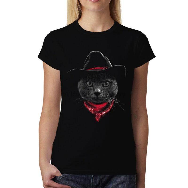 25f2c3ed Cowboy Cat Hat Womens T-shirt XS-3XL(1)