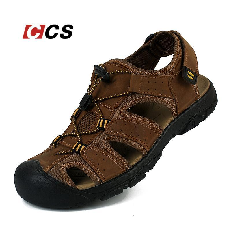 a5e2905b363a Outdoor Men S Summer Cool Sandals Non Slip Genuine Leather Soft Rubber Sole  Beach Shoe Quality Casual Shoes Large Size 11 CCS Heels Gladiator Sandals  From ...