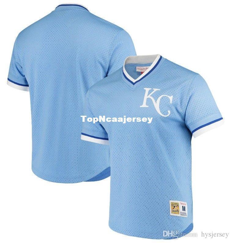 e39533e17c Compre Barato NEW MITCHELL NESS Kansas City Luz Azul Com Decote Em V MESH  JERSEY KC Em Branco JERSEYS Mens Retro Costurado Baseball Jerseys De  Hysjersey
