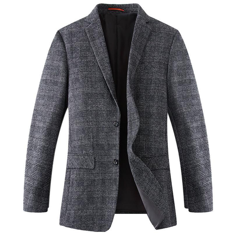 2019 new arrival fashion Spring Casual Large Wool Suit Men Plaid Single Breasted high quality Blazer Mens plus size XL-6XL 7XL