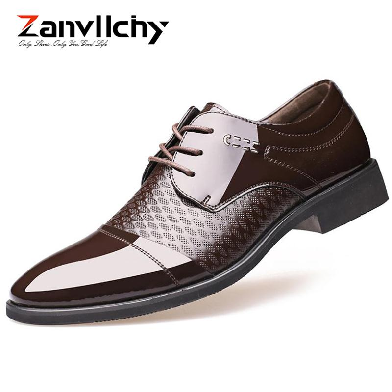 436b3856f6 Black   Brown Mens Dress Shoes Patent Leather Formal Shoes Men Classic  Wedding Oxford Lace Up Derby Social Male Shoe Pumps Shoes Slippers For Men  From ...