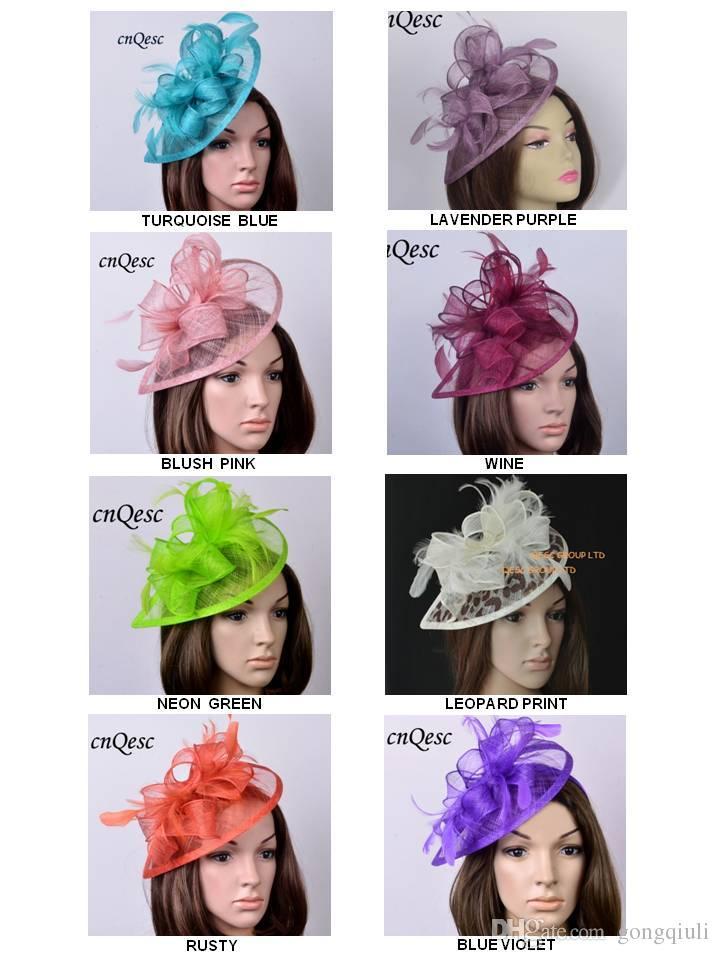 e599b99aa2c9b NEW DESIGN High Quality HOT Sinamay Fascinator Feather Headwear Kentucky  Derby Hats Royal Wedding Church Events Navy Hats For Weddings Purple  Wedding Hat ...