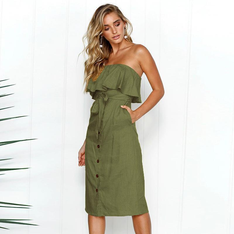 57b45fca0ee5 Beach Summer Dress Women Sexy Strapless Bow Tie Off Shoulder Party Dress  With Belt 2019 Ladies Casual Button Holidays Dress Dresses For Women Summer  ...