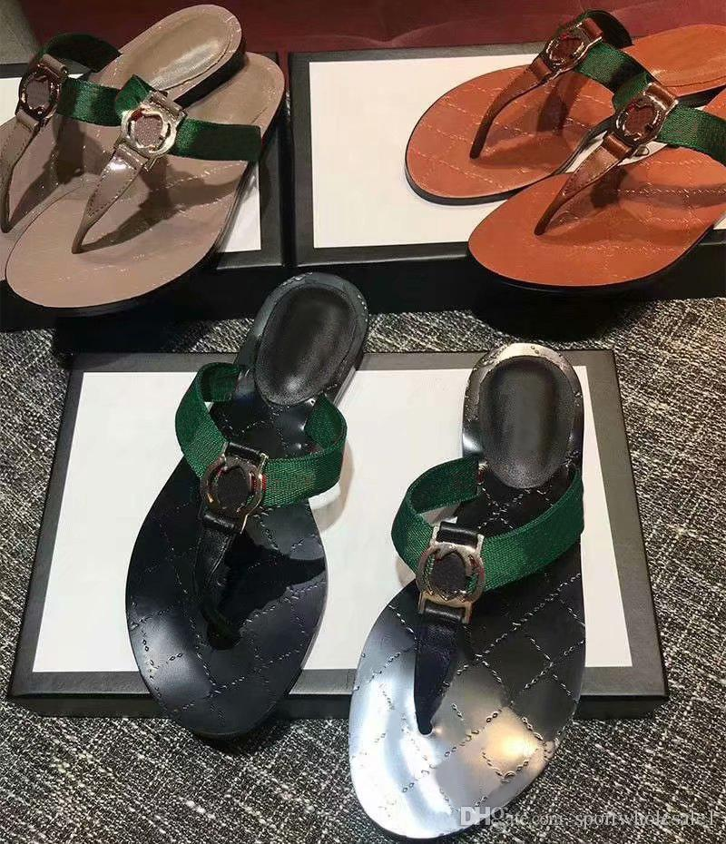 320b21f65 2019 Womens Fashion Black Thong Web Flat Sandals Green And Red Web With  Black Leather Trim Trim Causal Slippers Flats Rubber Flip Flops Womens Shoes  Desert ...