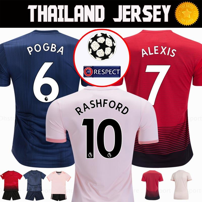 5fed9bb308 Compre Tailândia Alexis Manchester POGBA Homem Camisa De Futebol 2019  LUKAKU RASHFORD Futebol Kit Top Unido UTD Jersey 18 19 ADULTO Camisa KID  SET Uniforme ...