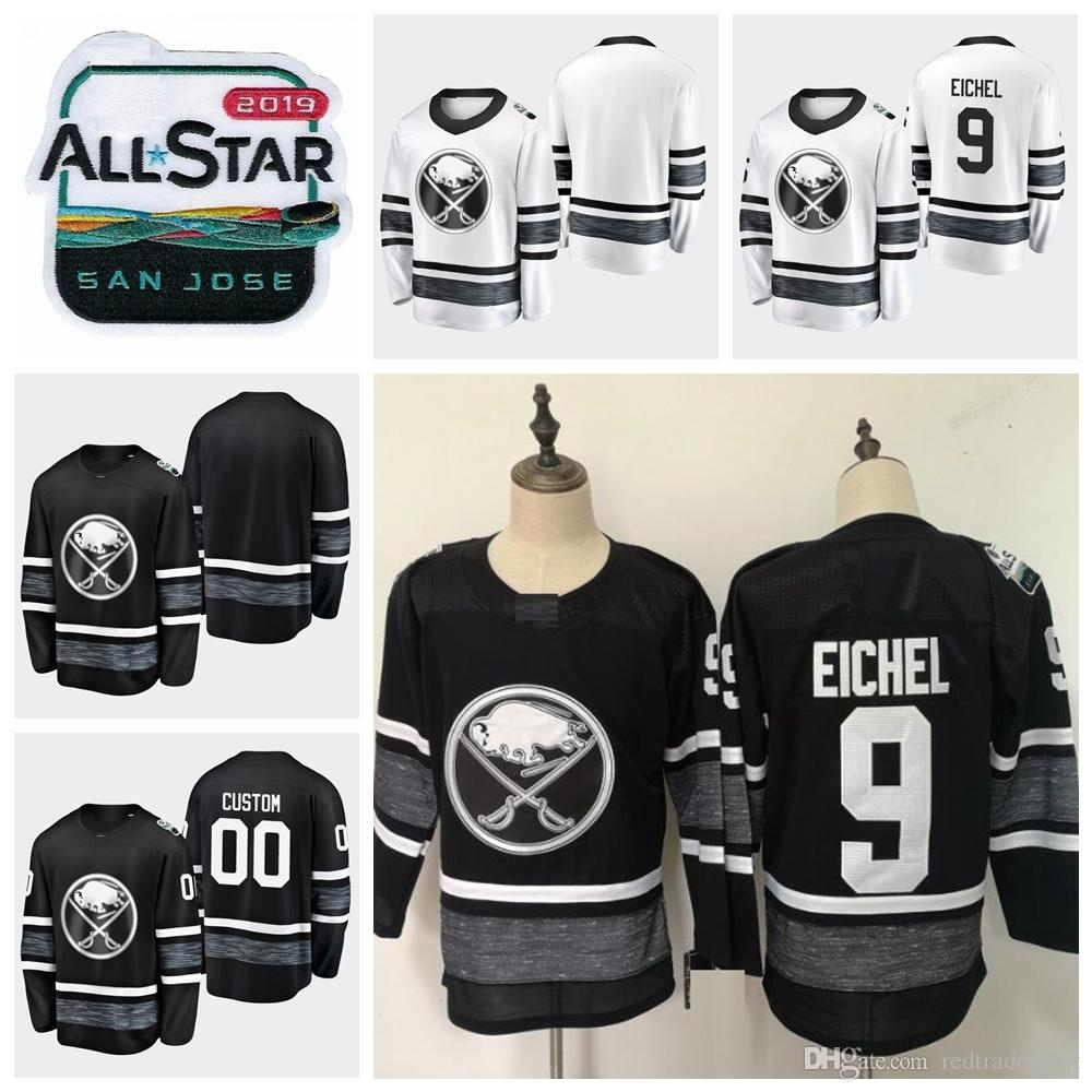 the latest e9c39 8a0ba 2019 All Star Game Jack Eichel Customize Buffalo Sabres Hockey Jerseys  Cheap Black White Jersey #9 Jack Eichel Stitched Shirts S-XXXL