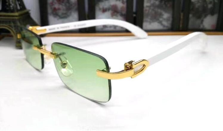 a72dff2218 Men Shades Women Buffalo Horn Glasses Frame Retro Wood Sunglasses Women  Rimless Green Lens Sunglasses Men Luxury Eyeglasses 2019 Online Baby  Sunglasses ...