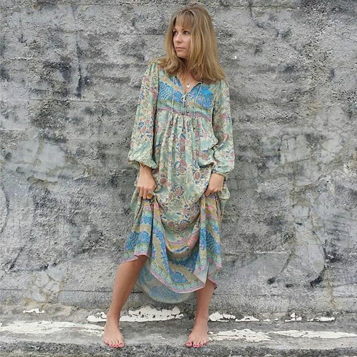 73281d123502 2019 Jastie Dreamy Oasis Boho Maxi Dress V Neck With Tassel Hippie ...
