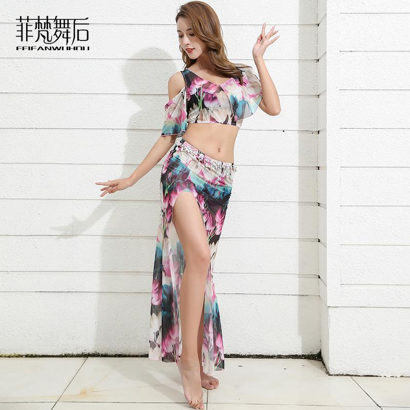6b3ad4e6f 2019 Bellydance Flower Print Off Shoulder Sexy Belly Dance Placketing Long  Skirt Set For Women Performance Wears Costumes FF9120 From Baxianhua, ...