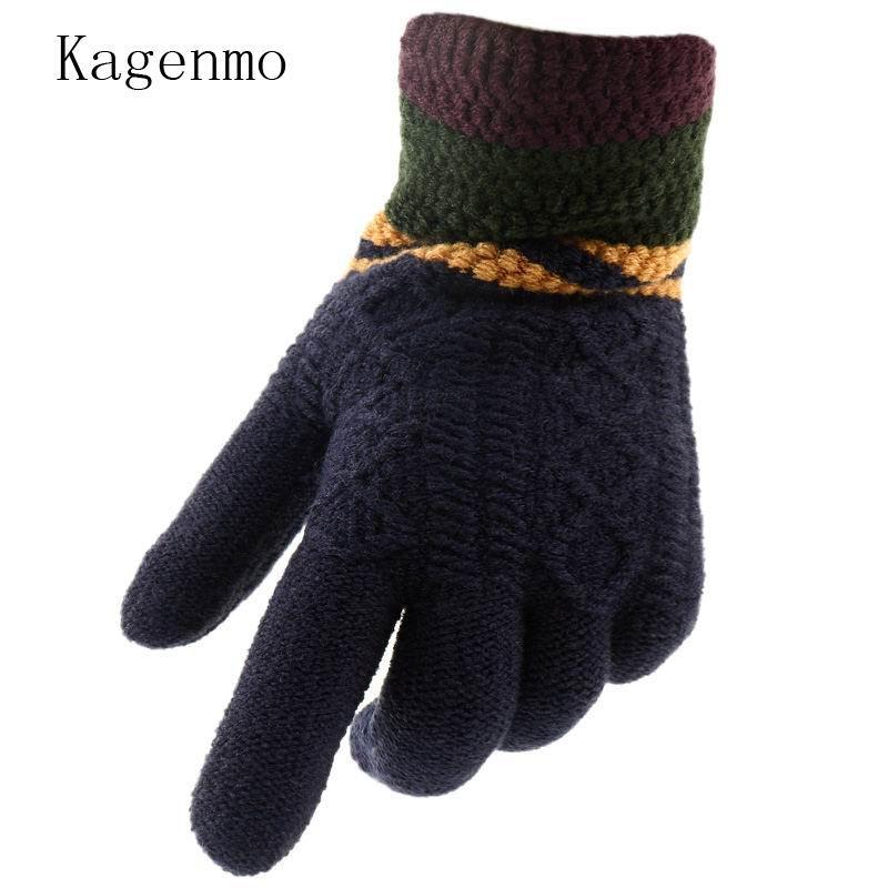 Compre Kagenmo Keep Warm Yarn Hombres Guantes Hombres De Invierno Guantes  Con Dedos Frío Invierno Lana Gruesa Tejido De Punto Esquí Masculino Manopla  A ... ef4b982d6e0