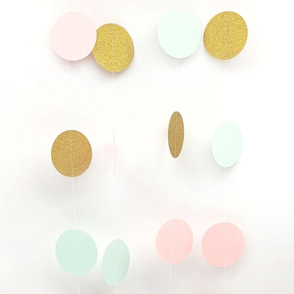 Happy Birthday 2M Mint Pink Gold Glitter Polka Dots Paper Garland Banners Home Party Birthday/Wedding Party Decoration Supplies