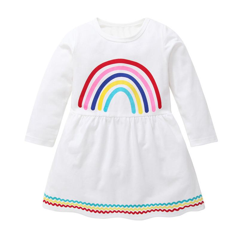 8250e75f1c 2019 Autumn Baby Girls Clothes Long Sleeve Girls Dress Baby Kids Girls Rainbow  Printed Party Dress Clothes Toddler Girl Dress S18 F From Victorys01