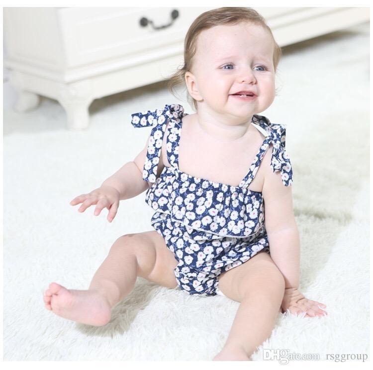 1c483ac9a Compre Flower Girls Mamelucos Trajes Body Para Bebés Recién Nacidos  Cinturón Floral De Una Pieza Blackless Baby Girls Body Infant A  16.08 Del  Rsggroup ...