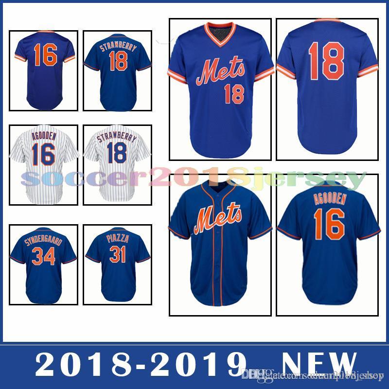 ecf5ab608a9 2019 New York Mets 18 Darryl Strawberry 16 Dwight Gooden 34 Noah  Syndergaard Popular Men S Baseball Base Jerseys From Champion shop