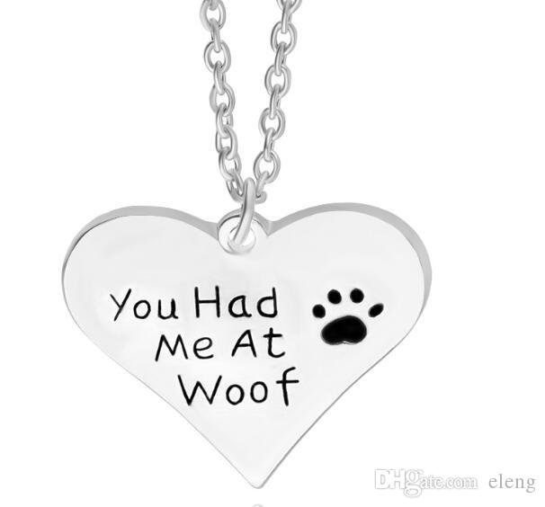 you had me at woof pet lover cant dag paw Print Heart pendant Necklace heart shaped pendants Wholesale Jewelry sample nacklaces for women 63