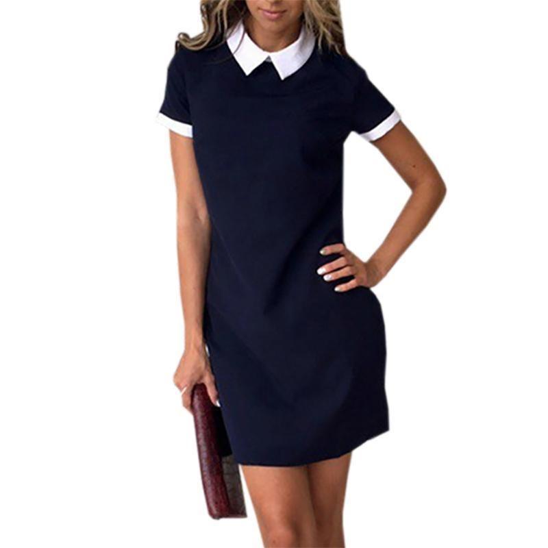 3a613b36df5 Office Turn Down Collar Short Sleeve Women Dresses 2019 Summer Casual  Straight Mini Dress Robe Mujer Back Zipper Sundress GV634 Strapless Dresses  For Teens ...