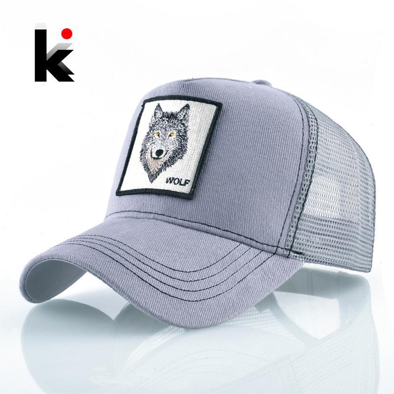 fc61e21df Fashion Snapback Trucker Hat For Men Summer Breathable Mesh Baseball Cap  Women Wolf Embroidery Hip Hop Casquette Boys Kpop Bone