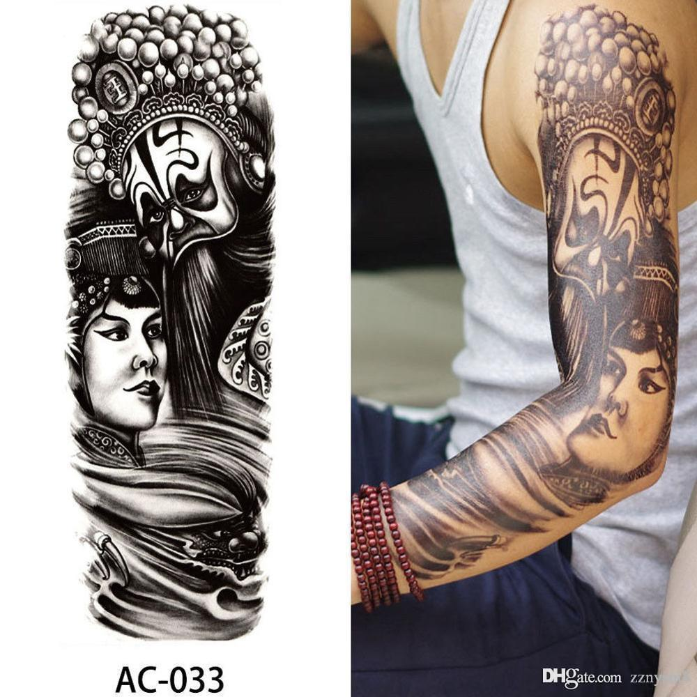 48*17cm Temporary Tattoo For Men Women Fake Tatoo Body Art Decals Waterproof Arm Tattoo Stickers