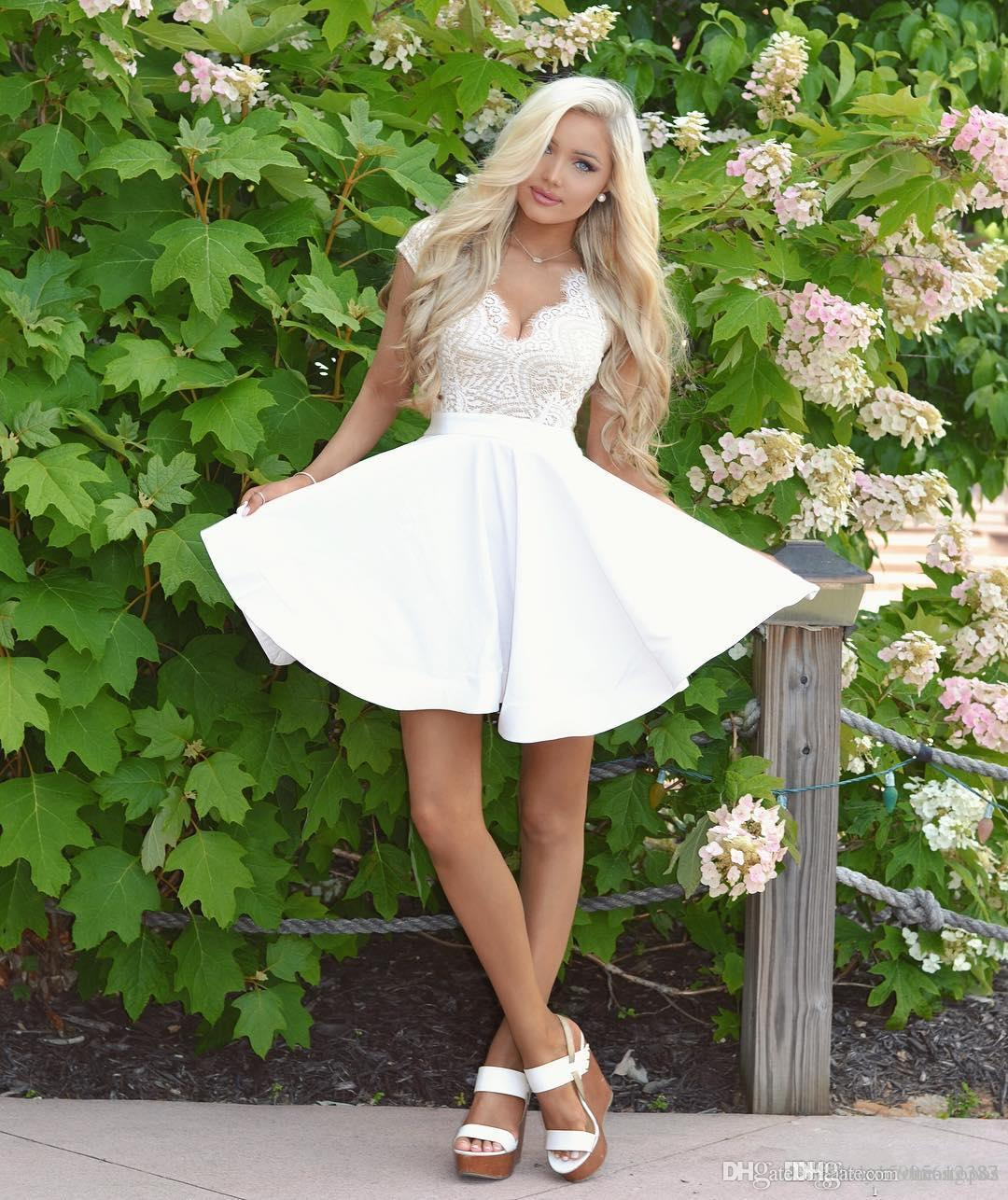 75e36966284 2019 New White Short Cocktail Dresses Lace V Neck Homecoming Dress Sexy  Open Back Graduation Party Gowns Mini Prom Dress 313 Shop Cocktail Dresses  Online ...