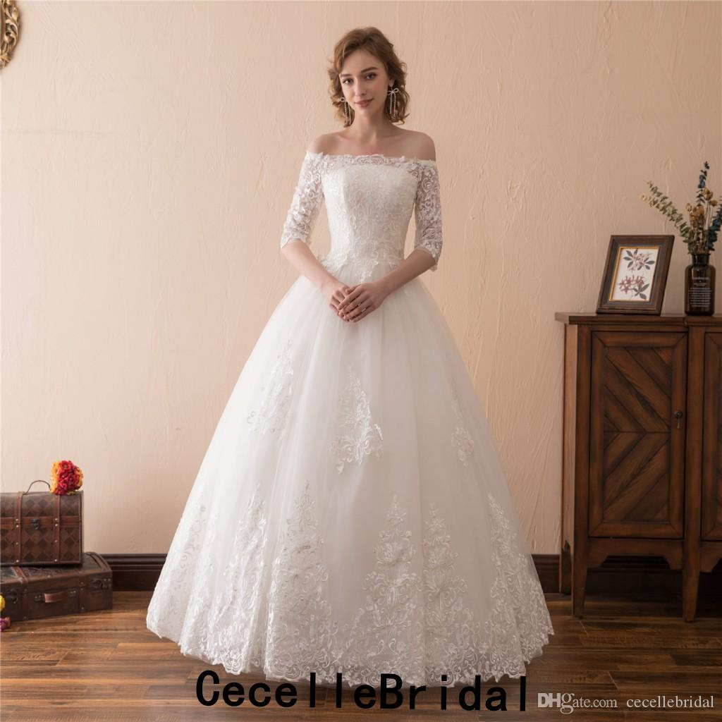 319565f7b2 Lace Ball Gown Wedding Dresses 2019 Off The Shoulder 1 2 Sleeves Floor  Length Country Western Bride S Wedding Gown Real Photos Halter Ball Gown  Wedding ...