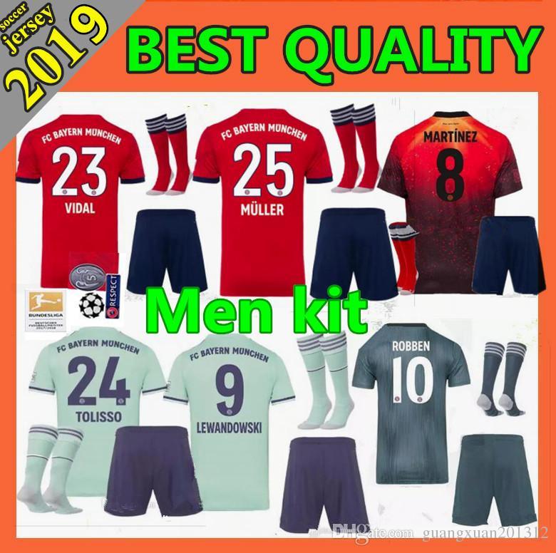 bbb06e4b4be5 2019 2018 Bayern Munich Soccer Jersey Men Kit 1819 VIDAL COATA LEWANDOWSKI  MULLER ROBBEN GOTZE BOATENG ALABA Football Shirt From Guangxuan201312