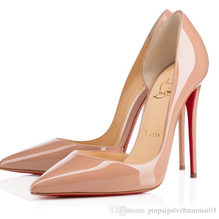 Christian Louboutin Fashion patent leather heel ladies wedding shoes  pointed high heels sexy ladies high heels, sheepskin 35-42 g3