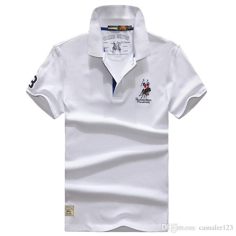 1fd47473c36df Compre Verão 2019 Nova Camisa Polo Dos Homens Boutique Bordado Respirável  100% Algodão Costura Camisa Polo Dos Homens De Moda De Lazer Polo Camisa  Masculina ...